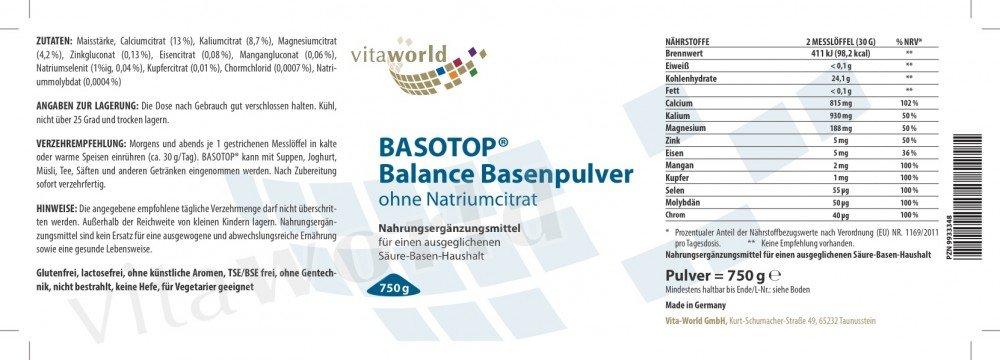 Basotop Polvo Alcalinizante Mineral 750g, Sin Citrato de Sodio Vita World Farmacia Alemania - Multimineral: Amazon.es: Salud y cuidado personal