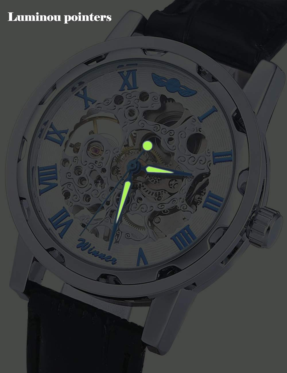 Gute Classic Steampunk Bling Automatic Mechanical Wristwatch See Through Skeleton Automatic Unisex Watch 5