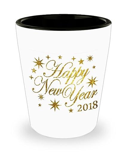 Amazon.com | Happy New Year 2018 Shot Glass Goldburst Man Cave ...