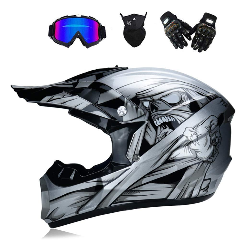 Adult Motocross Helmet MX Off Road Helmet Scooter ATV Helmet DOT Certified Multicolor with Goggles//Gloves//Mask