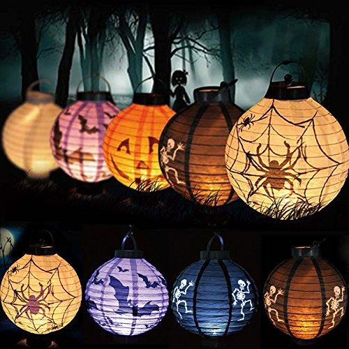 Halloween Party Decor Paper Pumpkin Spider Bat Hanging Lantern LED Light Lamp (Evil Cheerleader Dress)