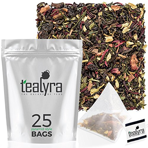 Tealyra - Fat Burner - 25 Bags - Wellness Detox Weight Loss Tea Blend - Pu Erh Aged - Sencha Green Tea - Wu-Yi Oolong - Diet Refreshing - Natural - Loose Leaf - Pyramids Style Sachets (Best Organic Green Tea For Weight Loss)