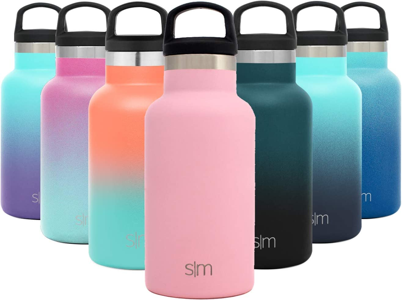 Simple Modern 12oz Ascent Water Bottle - Stainless Steel Hydro w/Handle Lid - Pink Double Wall Tumbler Flask Vacuum Insulated Small Reusable Metal Leakproof Kids -Blush