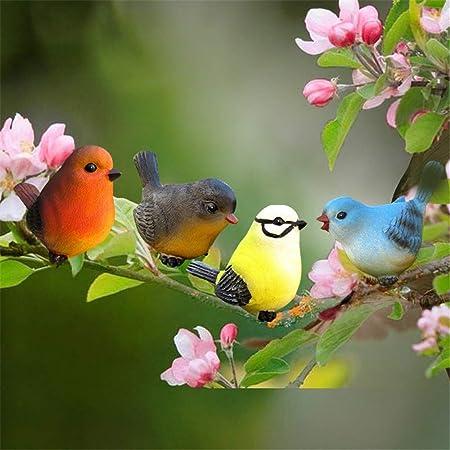 Decoraciones al Aire Libre Set de 4 Ornamentos de jardín de Aves para Casas/Parques/Jardines/Jardines de Infancia para el jardín (Color : Color, tamaño : 10 * 4 * 7cm): Amazon.es: Hogar