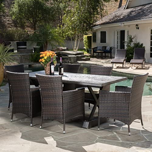 Christopher Knight Home Whitwell Outdoor 7 Piece Lightweight Concrete Dining Set