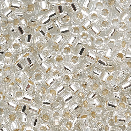 Price comparison product image Miyuki DB041 7.2gm Delica Seed Beads,  Size 11 / 0,  Silver Lined Crystal
