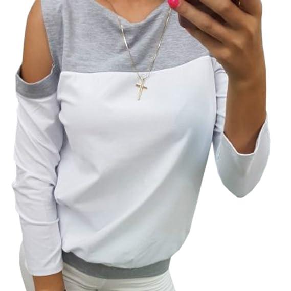 Mujer Fuera del Hombro Camiseta, Moda Manga Larga Color Sólido Blusa Sexy Camisetas Casual Primavera