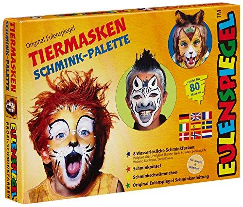 Eulenspiegel 208038 - Schminkset Tiermasken, Schminkpalette, Pinsel, Schwämmchen und Anleitung, 8 Farben