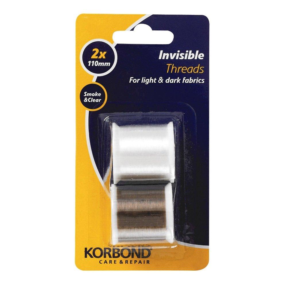 Korbond - Fili invisibili, colore trasparente e grigio fumo, 2 x 110 m 110055