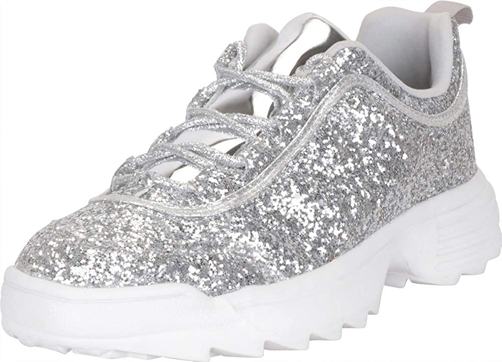 Silver Cambridge Select Women's Low Top 90s Ugly Dad Glitter Lace-Up Chunky Fashion Sneaker