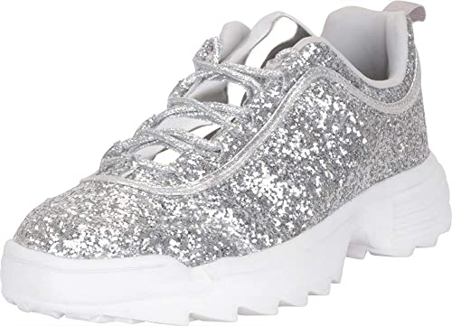 3496147cb3 Cambridge Select Women's 90s Ugly Dad Low Top Glitter Lace-Up Chunky  Fashion Sneaker