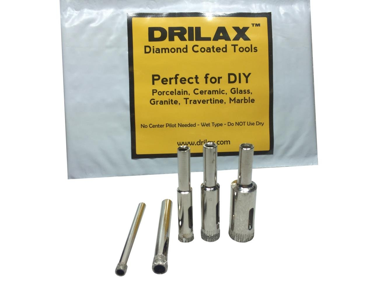 Drilax 5 pcs diamond drill bit set 316 14 516 38 12 drilax 5 pcs diamond drill bit set 316 14 516 38 12 wet use for tiles glass fish tanks marble granite ceramic porcelain bottles dailygadgetfo Gallery