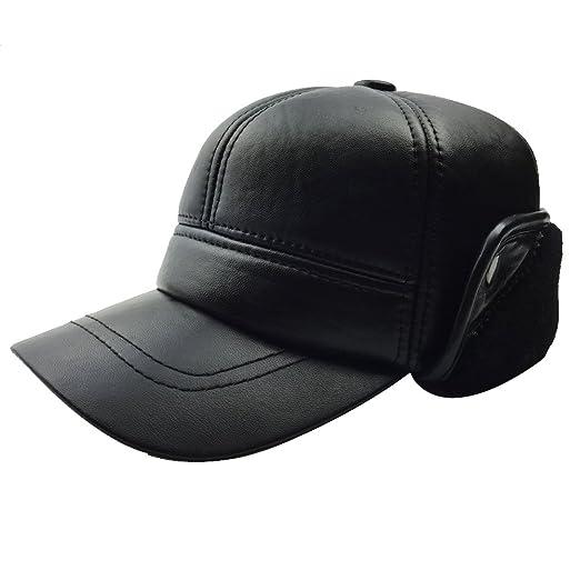7bcf8ba54af Sandy Ting Pilot Trooper Aviator Cap Fleece-lined Leather Hat Ushanka  Trapper Winter(Medium