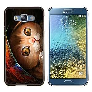 EJOOY---Cubierta de la caja de protección para la piel dura ** Samsung Galaxy E7 E700 ** --Pintura Gatito Mascota Americano de Pelo Corto