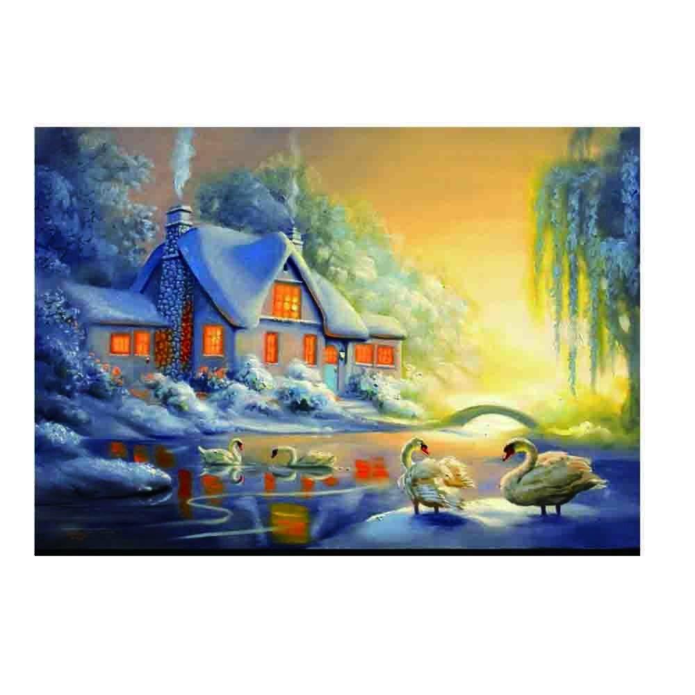 Wuayi Diamant Peinture Kits de complète Parure Petite maison Hut Paysage 5d DIY Broderie Strass Collez-le Croix pour Home Décoration murale Art As Shown A: 40x30cm