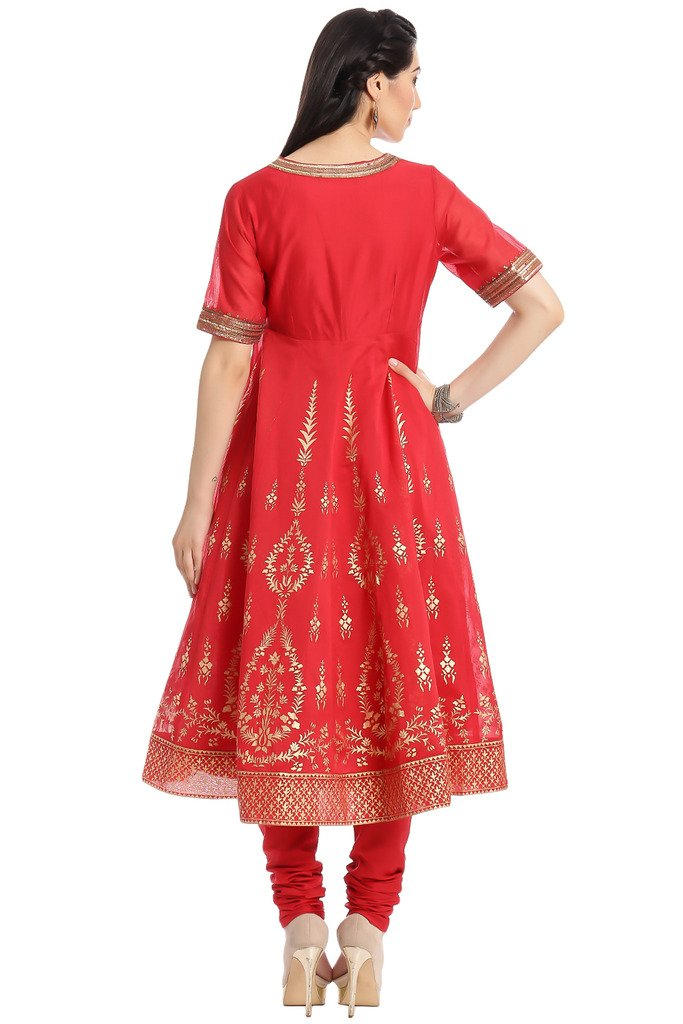 BIBA Women's Anarkali Cotton Silk Suit Set 34 Red by Biba (Image #3)