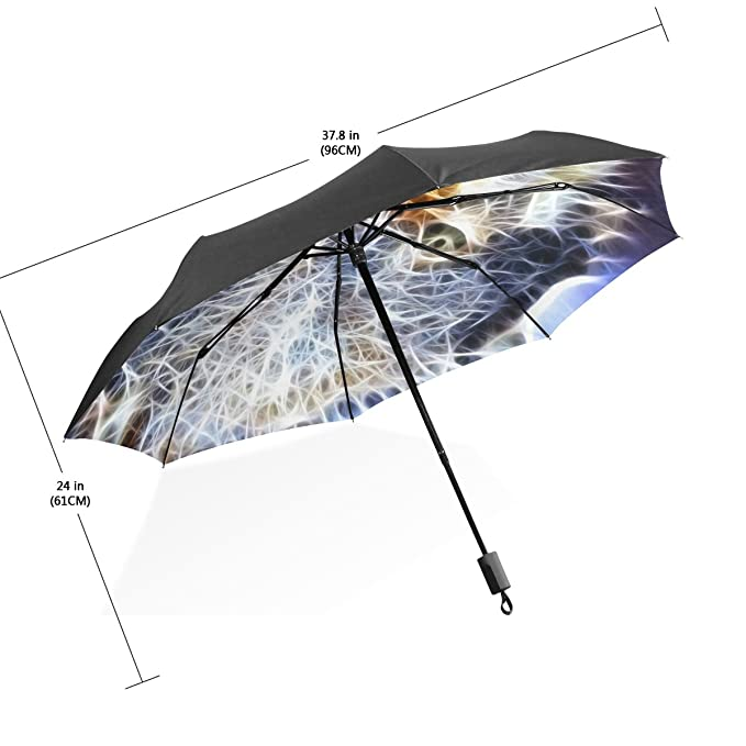 baihuishop 3 plegable con lobo patrón UV paraguas, ultraligero, plegable sol/lluvia paraguas