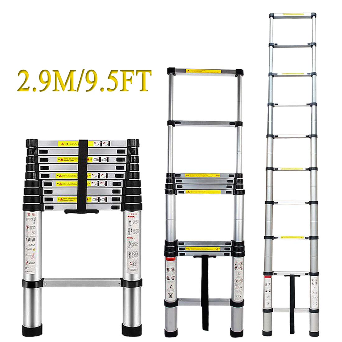 Telescoping Extension Ladder - ARCHOM Aluminum Telescopic Ladder 9.5ft Extend Ladder Multi-Purpose Portable Lightweight Folding Ladder with EN131 and CE Standard 330 Pound Capacity