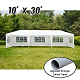 VidaGoods 10'x30′ White Canopy Party Wedding Outdoor Tent Heavy duty Gazebo Pavilion Cater Events + 0.4mm Thicker Post(Strong)