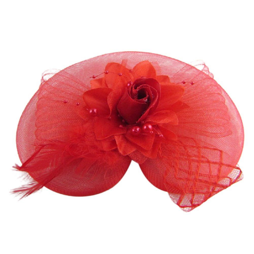 DJHbuy Wedding Cocktail Party Heart Flower Feather Veil Fascinator Hair Clip Hat Headwear