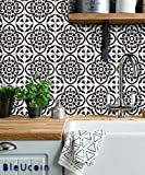 Moroccan Terracotta Tile Stickers for Kitchen and Bathroom Backsplash, Removable Stair Riser Stickers, Peel & Stick Home Decor (Pack of 48) (12'' x 12'' Inches, Black & white)