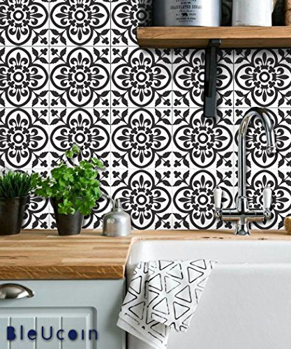 """Moroccan Terracotta Tile Stickers for Kitchen and Bathroom Backsplash, Removable Stair Riser Stickers, Peel & Stick Home Decor (Pack of 48) (4"""" x 4"""" Inches, Black & White)"""