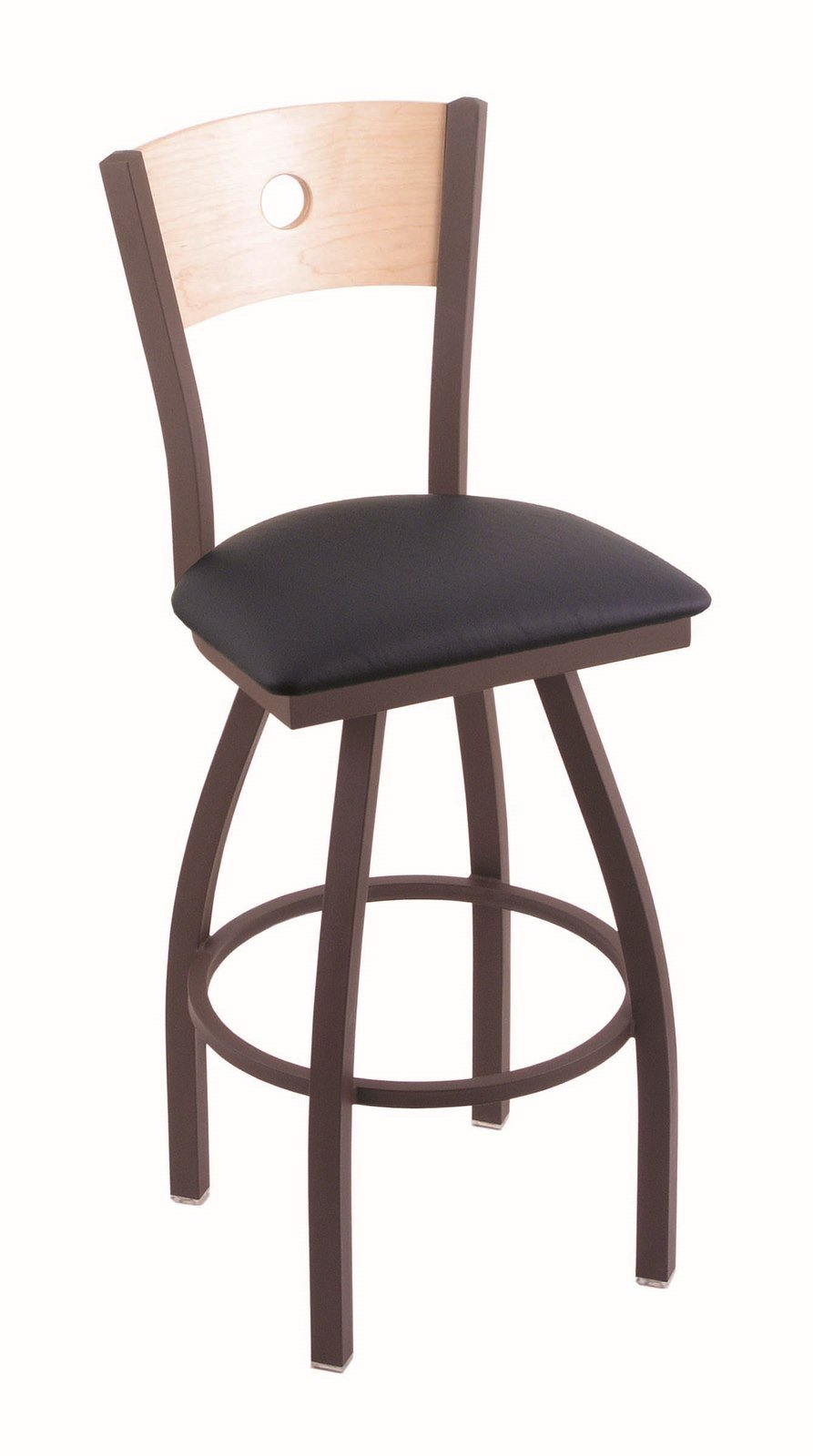 Holland Bar Stool Co. 830 Voltaire 36'' Bar Stool with Bronze Finish, Natural Maple Back and Swivel Seat, Allante Dark Blue by Holland Bar Stool Co.