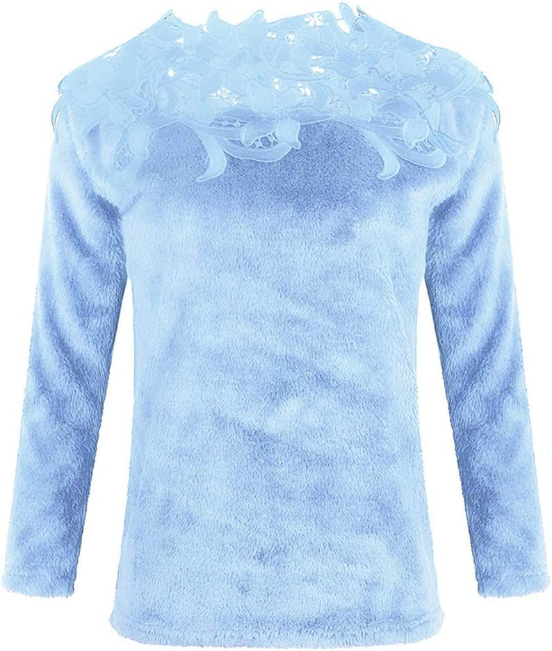 Franterd Women Blouse Floral Fluffy Hollow Jersey Jumper Tops Autumn Ladies Lace Stitching Long Sleeve Loose Pullover Shirt