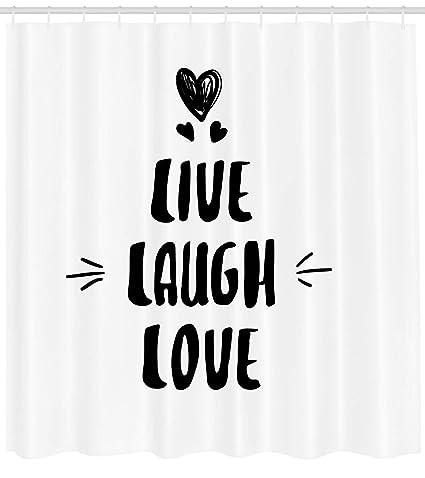 Live Laugh Love cortina de ducha por Ambesonne, lindo doodle corazones hechos a mano de