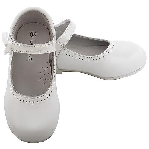 05987cf28da57 L'Amour White Leather Flower Mary Jane Velcro Shoe Little Girl 11-4