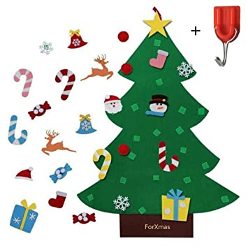 Wall Christmas Trees Ideas.Forxmas Diy Felt Christmas Tree Decorations With 26pcs Christmas Decorations Wall Door Hanging Christmas Decorations Trees Decor For Kids Room