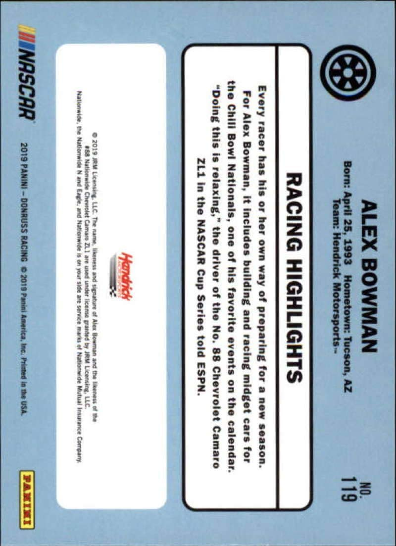 2019 Donruss Racing NASCAR Base Retro 1986 #119 Alex Bowman