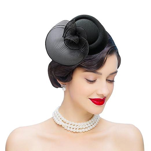 Edith qi Womens Fascinator Vintage Mesh Net Wool Felt Pillbox Hats Hair  Clip Black c05952a92dd4