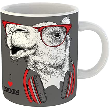 cdee282bac9b Coffee Cups Tea Mug Gift 11 Ounces Funny Ceramic Red Africa the Camel in  Glasses Headphones
