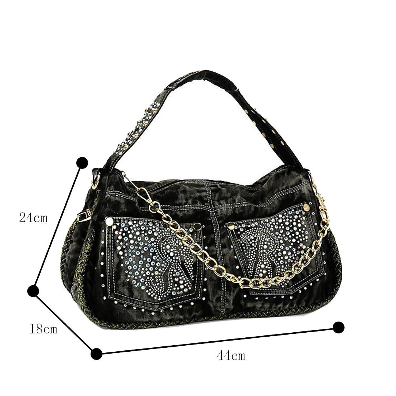 Genda 2Archer Girls Denim Zipper Fashion Handbag Totes Satchel Hobo Bag Crossbody