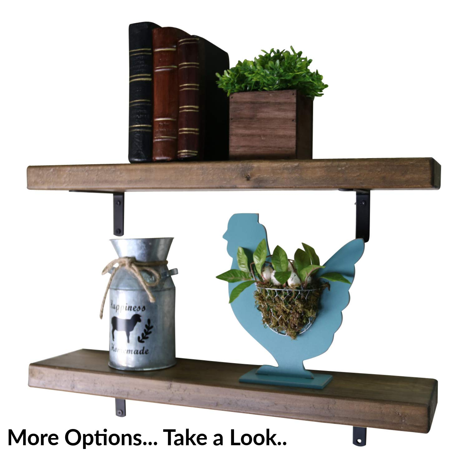 SDI Designs Rustic Farmhouse Floating Shelf Set , the Weathered Collection (36 Inch, Barnwood Brown) by SDI Designs