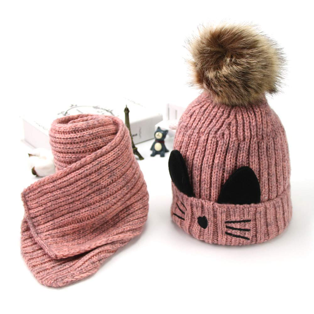 Unisex Baby Beanie Cap+Scarf Vinjeely Toddlr Girls Boys Winter Cute Cat Knitted Pompom Hat Scarf