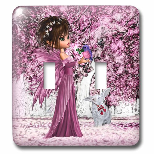 3dRose lsp_218898_2 Pink Woodland Fairy Enchanted Forest with A Snow White Bunny - Double Toggle Switch