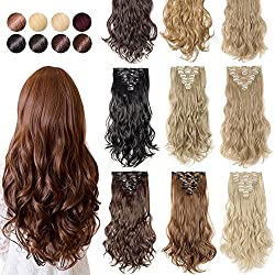 """[Promo] 24"""" Long Straight Curly Wavy Full Head Clip in Hair Extension 8 Pcs 18 Clips Real Thick Heat Resistance Synthetic Hairpiece for Women Girls (Dark Brown & Ash Blonde)"""