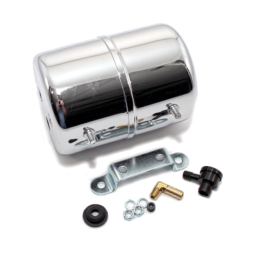Assault Racing Products A9971 Chrome Vacuum Reservoir Brake Booster Canister with Check Valve and Hardware