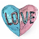 "LONGBLE Mermaid Pillow, Reversible Sequins Heart Shaped Home Decor Cushion Romatic Pillowcase with Insert Changing color Magic Glitter Throw Pillows 13"" x 14"" (Blue and Antique Pink)"