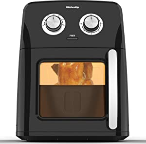Air Fryer Oven Combo, KitchenUp 12 Quarts 1700W Electric Hot Oven Cooker with Visualized Window for Roasting, Reheating and Dehydrating, Dishwasher Safe Frying Accessories (A Mitt and Recipe Included)
