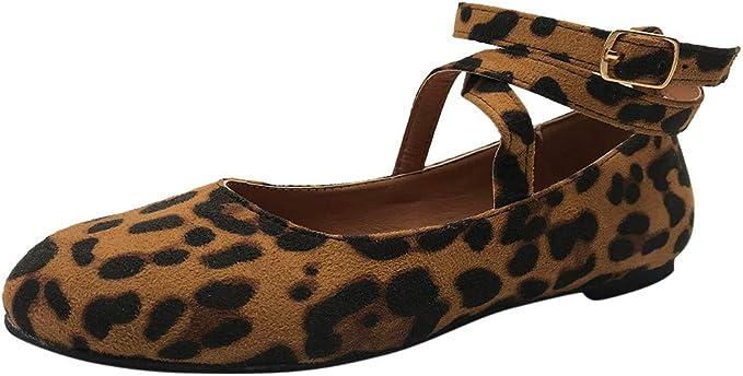 AG&T Casual Mujer Romana Redonda Cabeza Cruzada Hebilla Hebilla Zapatos Solos Sandalias Zapatos de Desgaste de Fondo Plano: Amazon.es: Deportes y aire libre
