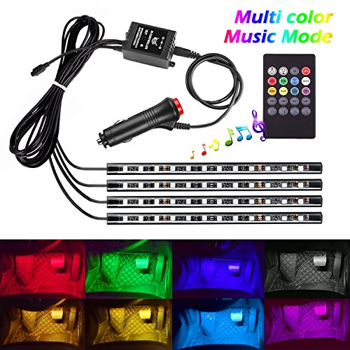 Music Active Multi Color Car LED Interior Underdash Light Kits, Ampper LED Atmosphere Neon Strip Glow Lighting Kits with Wireless Remote Control (4 Pcs, 48 LEDs)