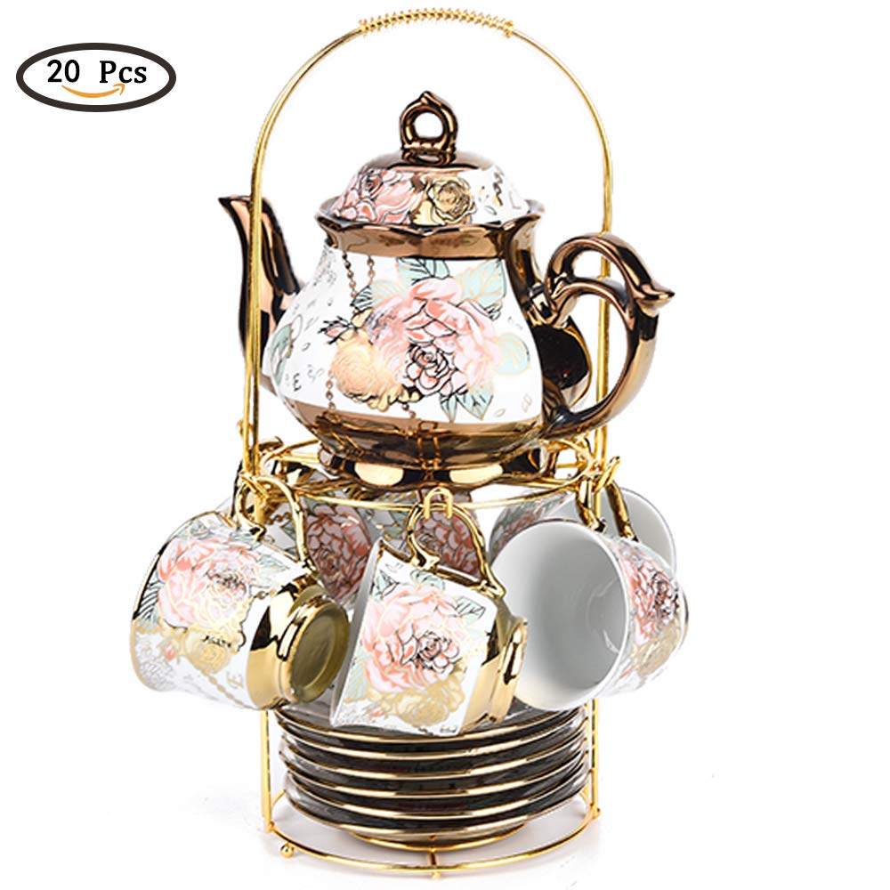 20 pcs of tea set retro tea set teapot coffee pot ceramic tea set coffee tea set tea set adult,with metal bracket