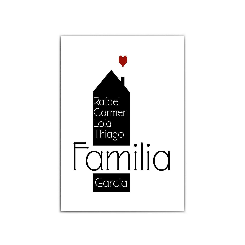 Cartel familiar personalizado - nombre personalizado - casa - regalo personal - cartel familiar personalizado - a4 o 30x40 cm - sin marco