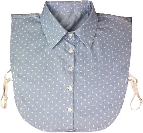 hibote Camisa Falsa de Las Mujeres de la Mitad de la Camisa desprendible del Cuello Camisas Desmontables de la Camisa del reemplazo del algodón Dots Blue V-Neck: Amazon.es: Ropa y accesorios