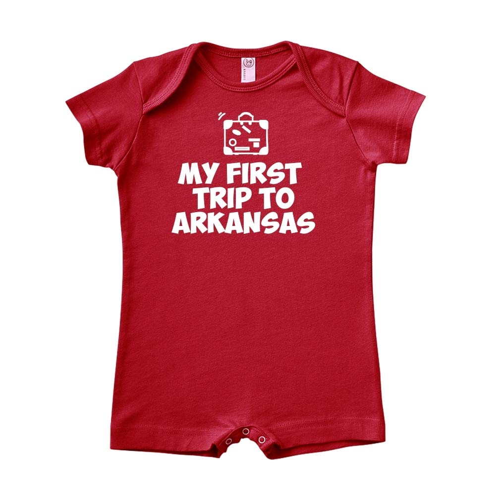 Mashed Clothing My First Trip to Arkansas Baby Romper
