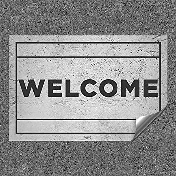 Basic Gray Heavy-Duty Industrial Self-Adhesive Aluminum Wall Decal 5-Pack Welcome 27x18 CGSignLab