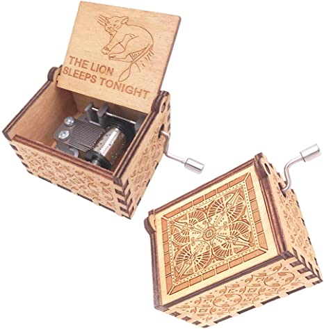 Amazon Com Fnly 18 Notes Wooden Engraved Anime The Lion Sleeps Tonight Theme Music Box Antique Carved Hand Crank Small Musical Box Gift Brown Home Kitchen
